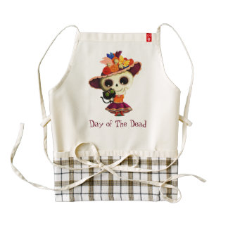 Cute Mexican Day of The Dead Girl Zazzle HEART Apron