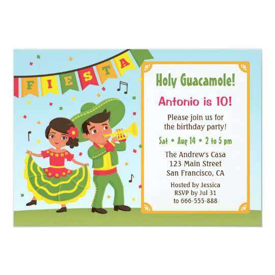 Cute Mexican Fiesta Hispanic Kids Birthday Party Invitation Zazzle Com