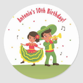 Cute Mexican Fiesta Hispanic Kids Party Stickers