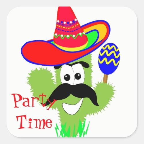 Cute Mexican Sombrero Cactus Fun Party Time Square Sticker
