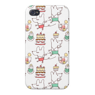 Cute Mice Bakery Chef Drawing Cover For iPhone 4