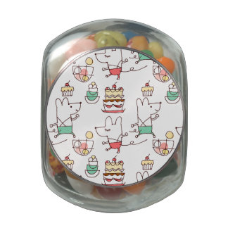 Cute Mice Bakery Chef Drawing Glass Candy Jars