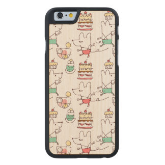Cute Mice Bakery Chef Drawing Pattern Carved® Maple iPhone 6 Bumper Case