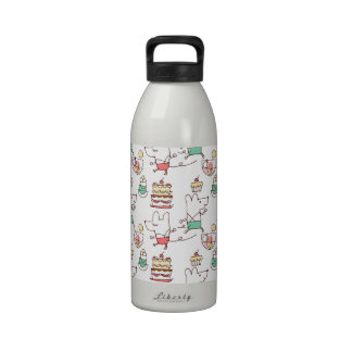 Cute Mice Bakery Chef Drawing Reusable Water Bottles