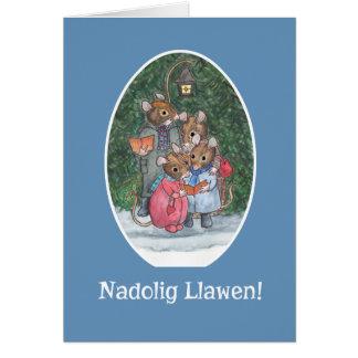 Cute Mice Carol Singers Welsh Christmas Card