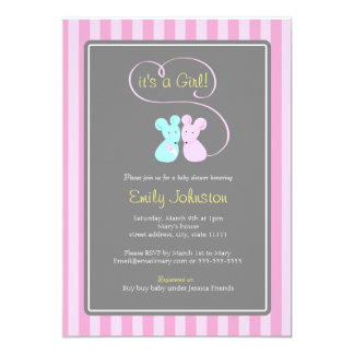 Cute mice girl baby shower invitation
