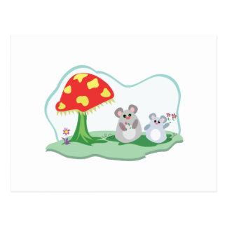 cute mice in mushroom garden postcard