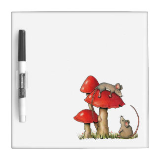 Cute Mice, Sleeping Mouse, Toadstools: Art Dry Erase Board