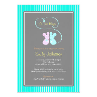 Cute mice twin boys baby shower invitation