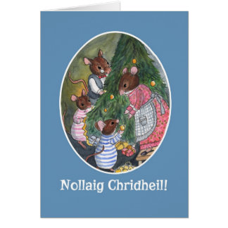 Cute Mice with Christmas Tree Scottish Gaelic Card