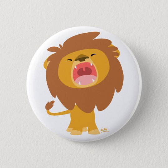 Cute Mighty  Roaring Cartoon Lion Button Badge