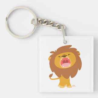 Cute Mighty  Roaring Lion Cartoon Acrylic Keychain