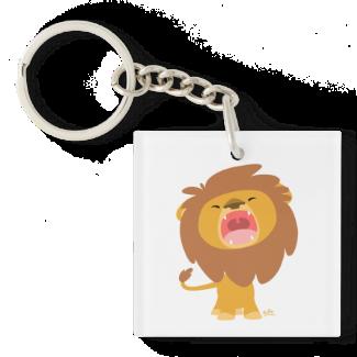 Cute Mighty  Roaring Lion Cartoon Acrylic Keychain