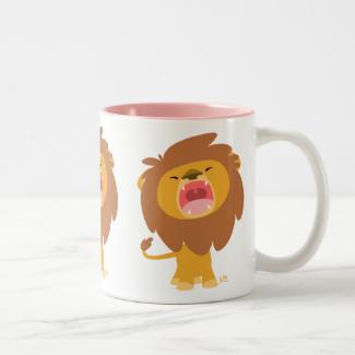 Cute Mighty  Roaring Lion Cartoon Mug