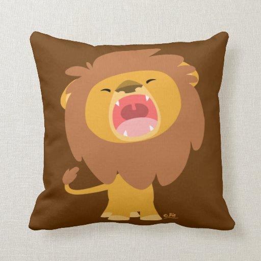 Cute Lion Pillow : Cute Mighty Roaring Lion Cartoon Pillow Zazzle