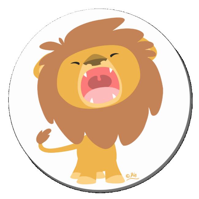 Cute Mighty  Roaring Lion Cartoon round sticker