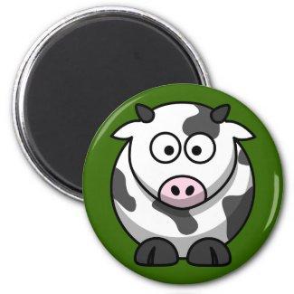 Cute Milking Cow On Green Grass Fridge Magnet magnet