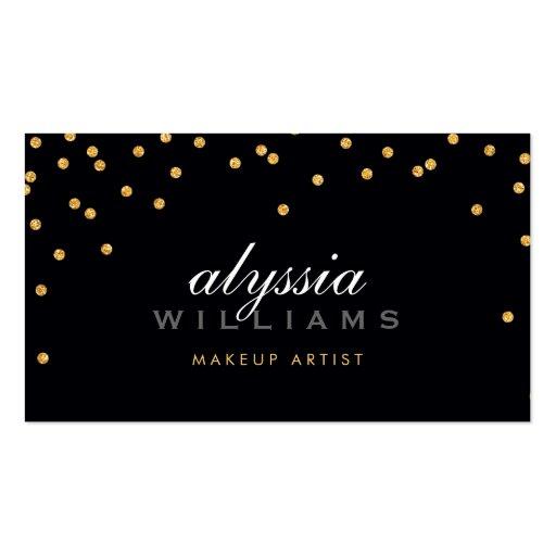 CUTE mini confetti gold sparkly glitter bold black Business Card Template