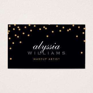 CUTE mini confetti gold sparkly glitter bold black Business Card