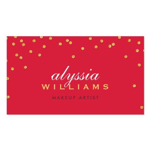 CUTE mini confetti gold sparkly glitter bright red Business Card Templates