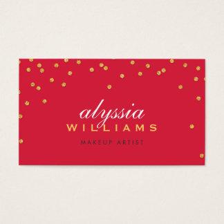 CUTE mini confetti gold sparkly glitter bright red Business Card