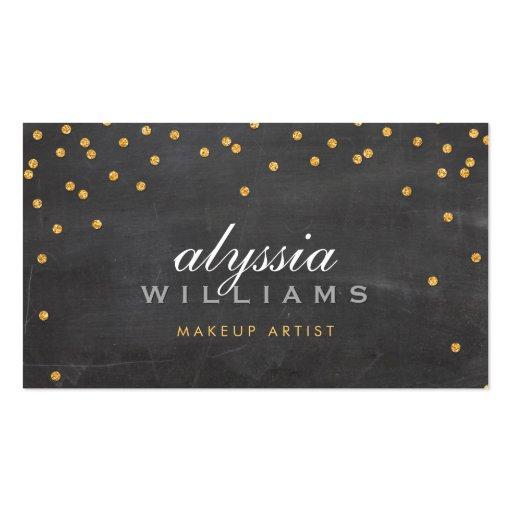 CUTE mini confetti gold sparkly glitter chalkboard Business Cards