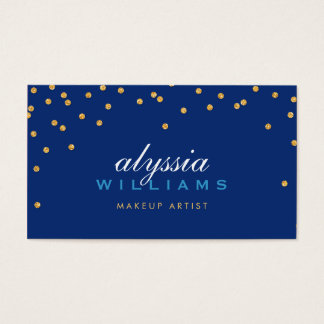 CUTE mini confetti gold sparkly glitter dark blue Business Card
