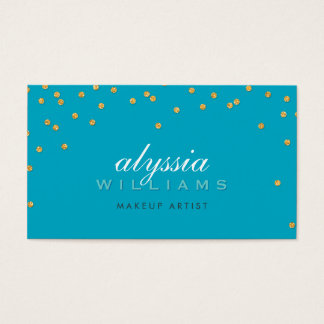 CUTE mini confetti gold sparkly glitter turquoise Business Card