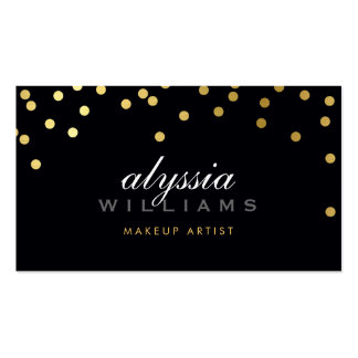 CUTE mini confetti shiny gold foil bold black Business Card Template