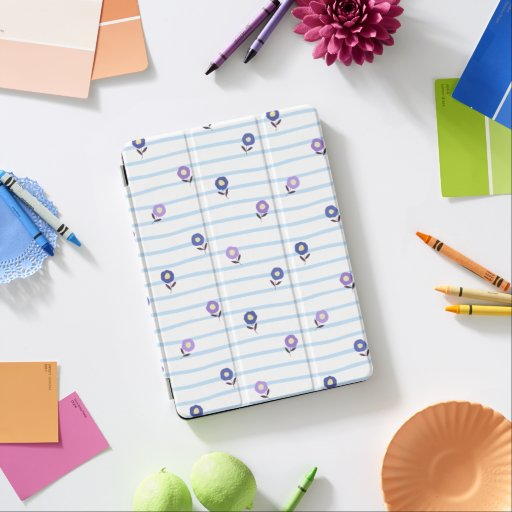 Cute Mini Flower with Blue Stripe Pattern iPad Air Cover