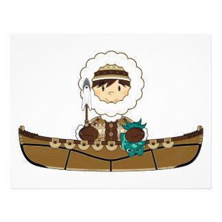 Cute Mini Inuit Fisherman in Kayak Flyer