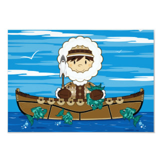 "Cute Mini Inuit Fisherman in Kayak RSVP card 3.5"" X 5"" Invitation Card"