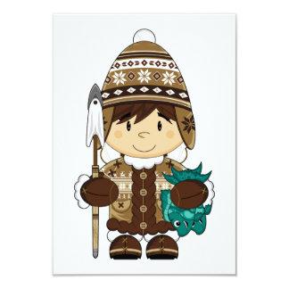 "Cute Mini Inuit Fisherman RSVP card 3.5"" X 5"" Invitation Card"