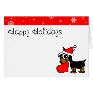 Cute Miniature Pinscher Santa Hat Happy Holiday Card