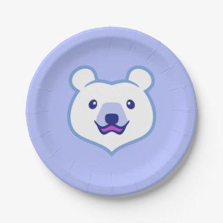 Cute Minimalist Cartoon Polar Bear 7 Inch Paper Plate