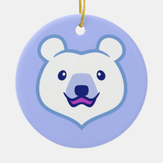 Cute Minimalist Cartoon Polar Bear Ceramic Ornament