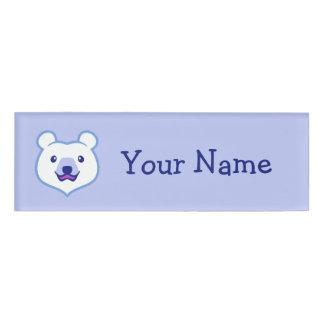 Cute Minimalist Cartoon Polar Bear Name Tag