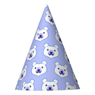 Cute Minimalist Cartoon Polar Bear Party Hat