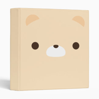 Cute Minimalist Cream Teddy Bear Face Binder