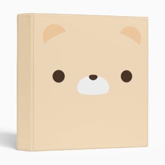 Cute Minimalist Cream Teddy Bear Face Binder