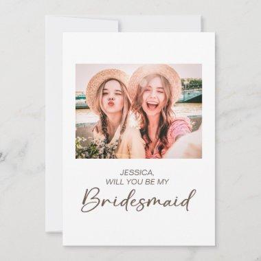 Cute Minimalist Will You Be My Bridesmaid Photo Invitation