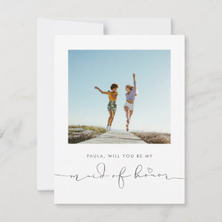 Cute Minimalist Will You Be My Maid of Honor Photo