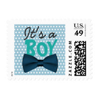 Cute Mint Blue Polka Dots Boy Bow Tie Baby Shower Postage