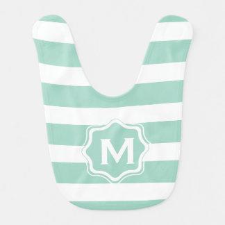 Cute Mint Blue stripe pattern Baby Bib