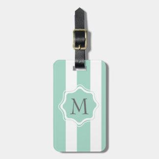 Cute Mint Blue stripe pattern Bag Tag