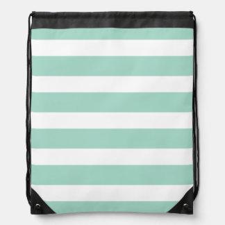 Cute Mint Blue stripe pattern Drawstring Backpack