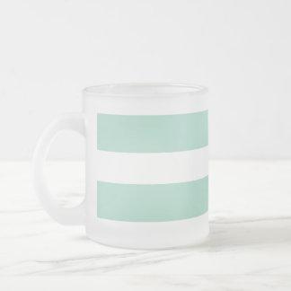 Cute Mint Blue stripe pattern Frosted Glass Coffee Mug