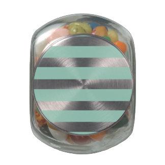 Cute Mint Blue stripe pattern Jelly Belly Candy Jar