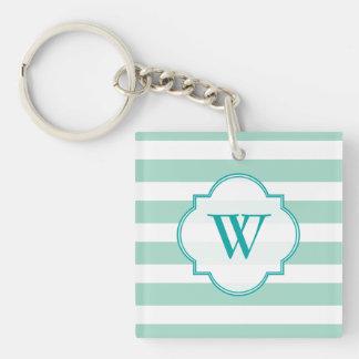 Cute Mint Blue stripe pattern Single-Sided Square Acrylic Keychain