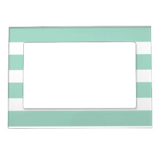 cute mint blue stripe pattern magnetic picture frame - Mint Picture Frames